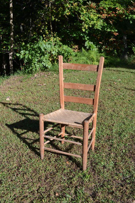 Vintage Antique Ladder Back Wooden Chair Woven Seat Primitive Rustic Decor  PanchosPorch