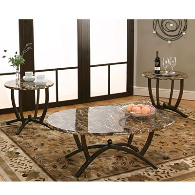 includes coffee table and two end tables faux marble tops oval