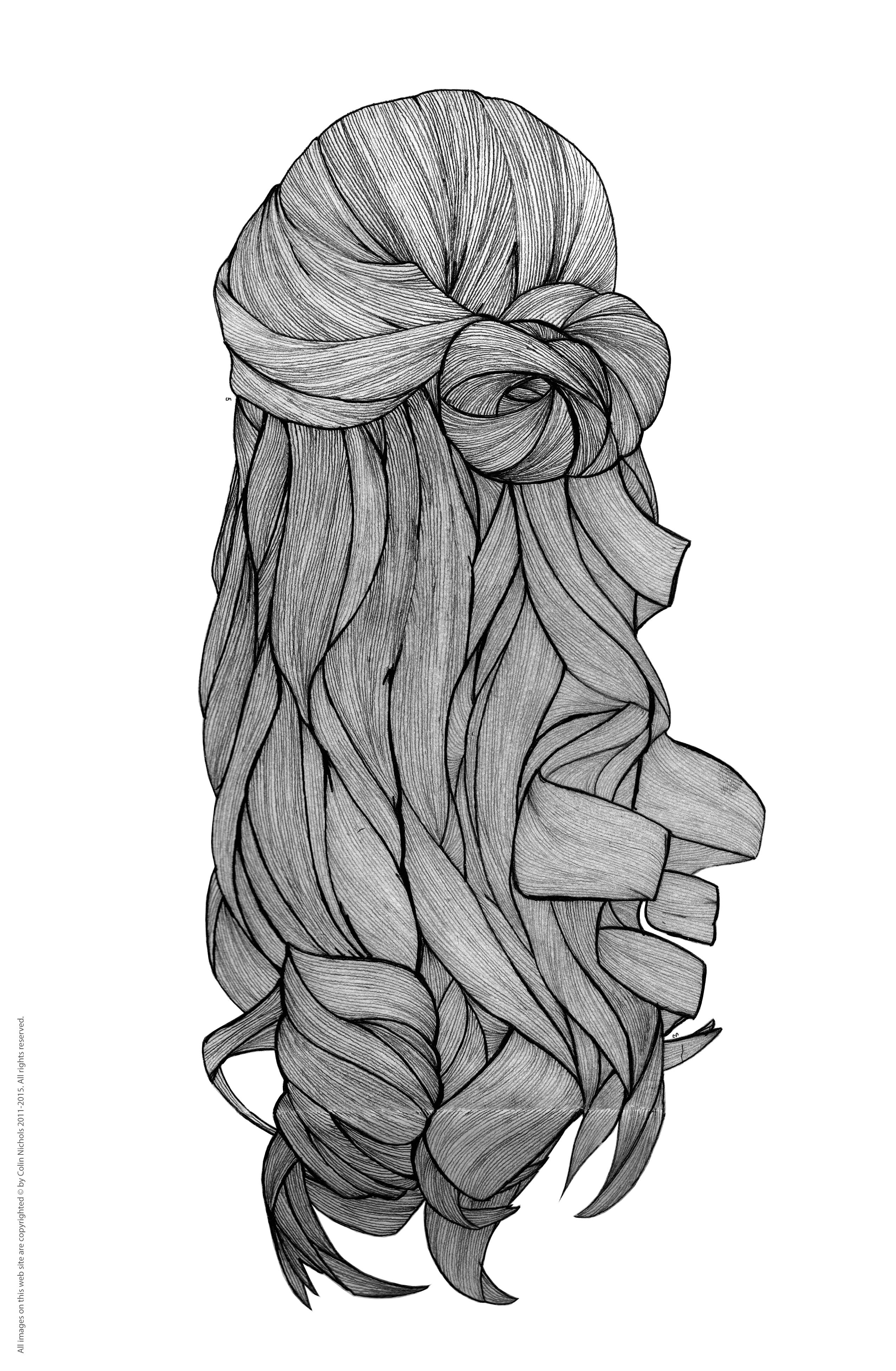 Long Hair New Piece Hair Hairstyling Fashion Culture Line Lineart Linework Art Illustration F Hair Illustration How To Draw Hair Long Hair Drawing