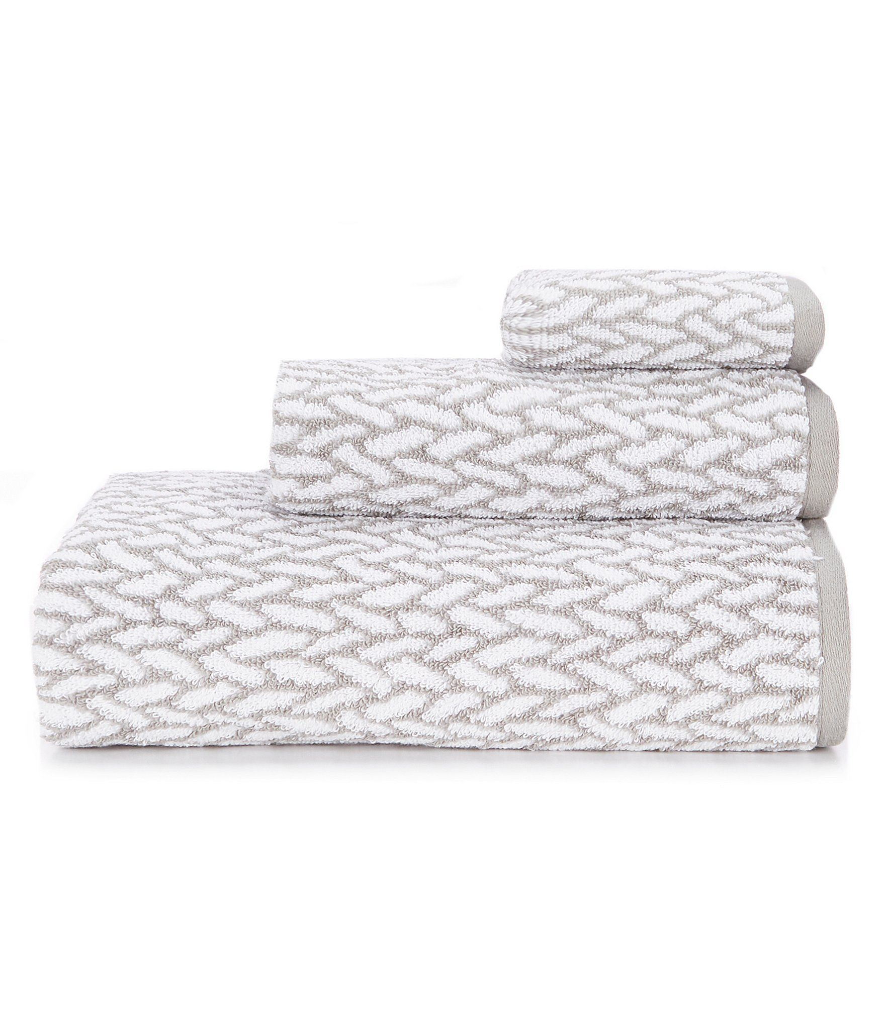 Lauren Ralph Lauren Sanders Basketweave Bath Towels Pewter Grey