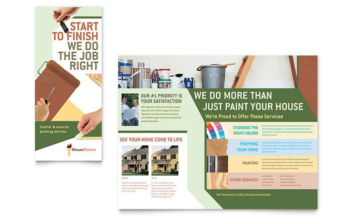 Painter And Painting Contractor Brochure Design Template By