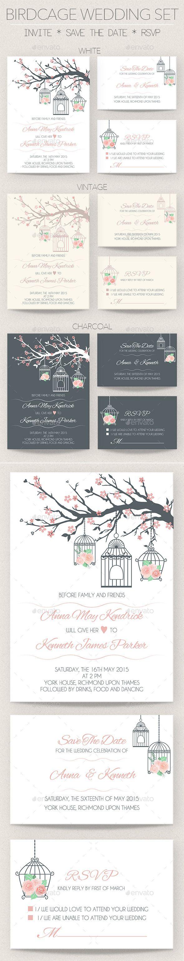 Birdcage Wedding Invitation Set | Wedding invitation sets, Wedding ...