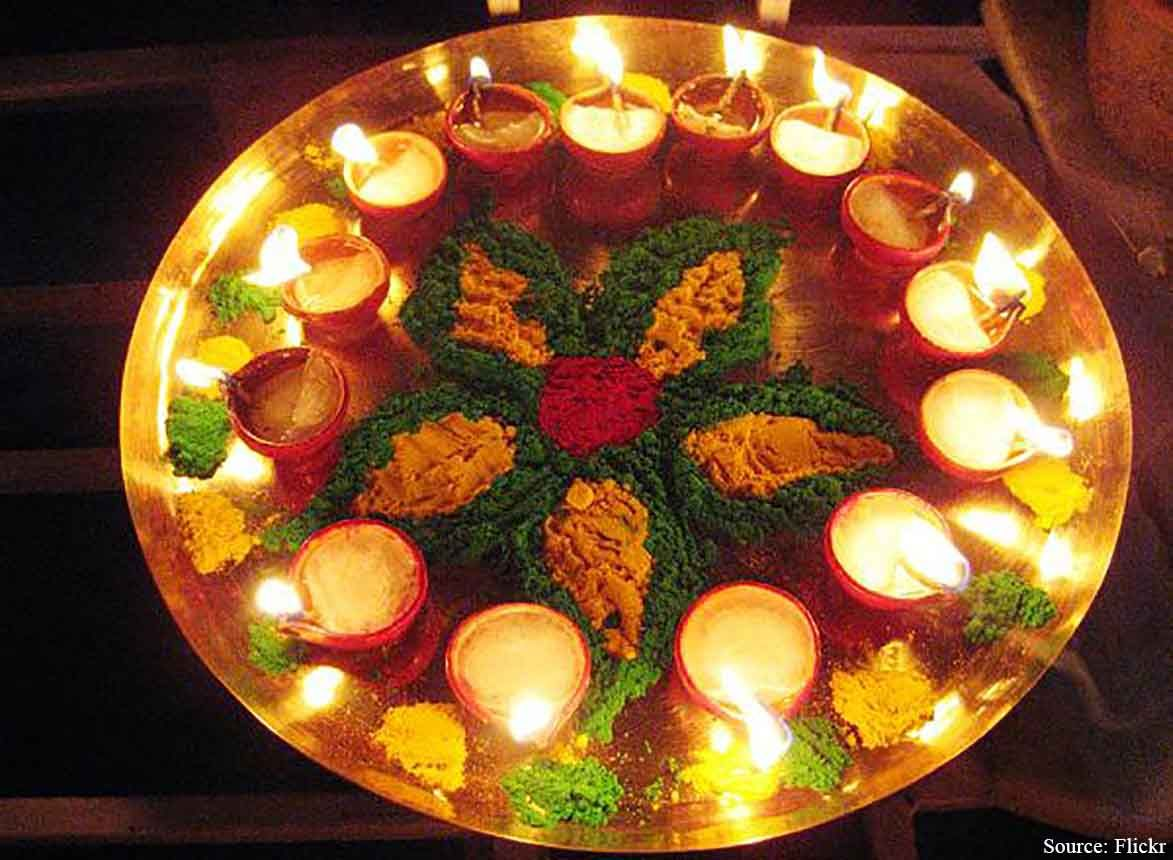 Ghee Filled Diyas Are A Tradition On Diwali This Beautiful Diy Decoration Using Green Orange