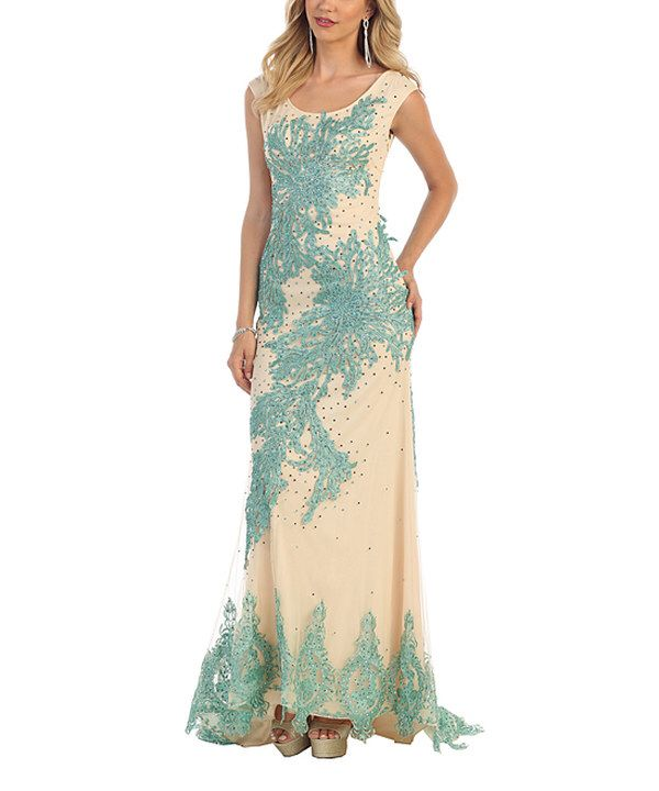 Look at this Royal Queen Mint & Nude Embellished Scoop Back Dress on #zulily today!