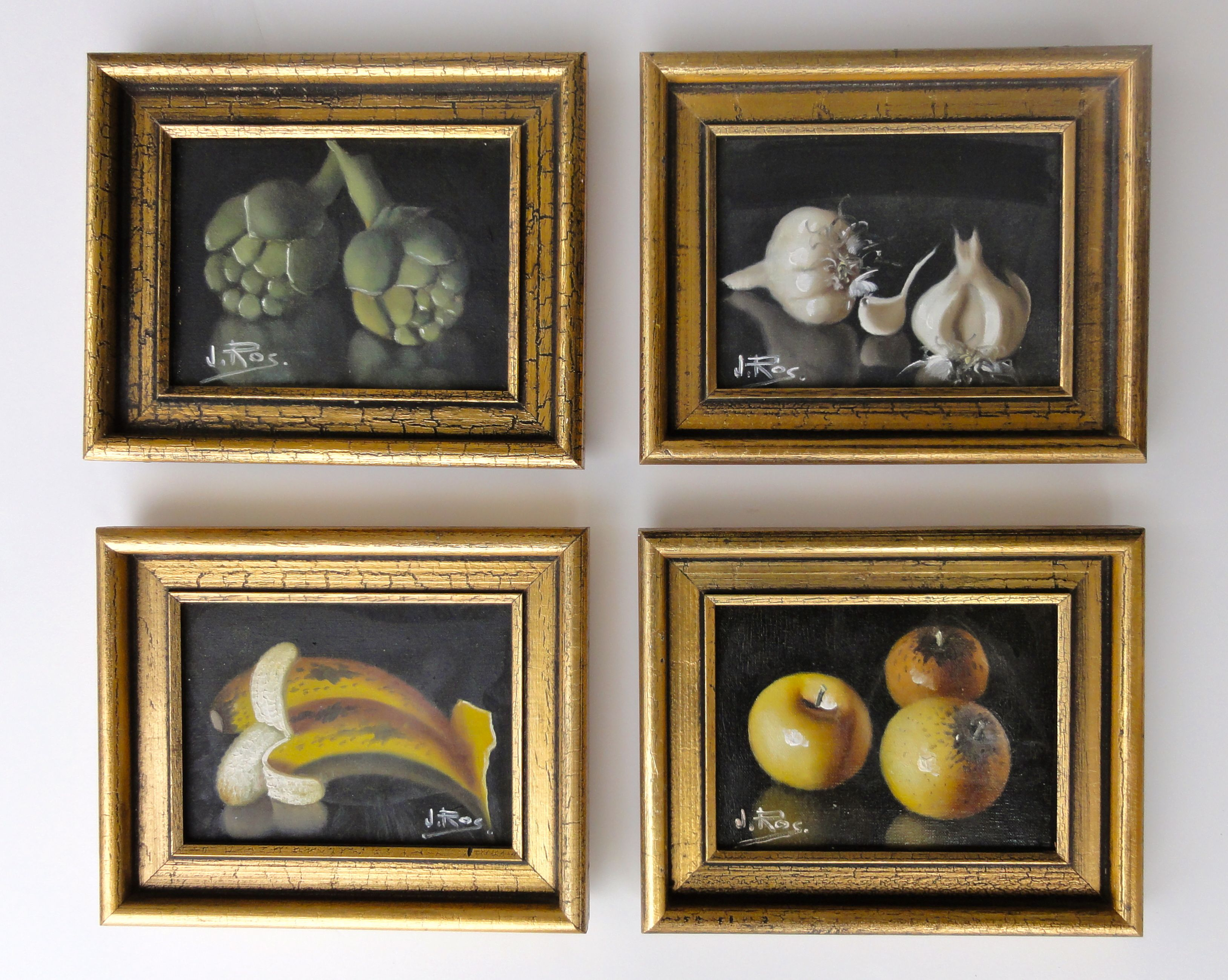 kitchen paintingsSet of 4 miniature kitchen paintings signed by J Ros Artichoke
