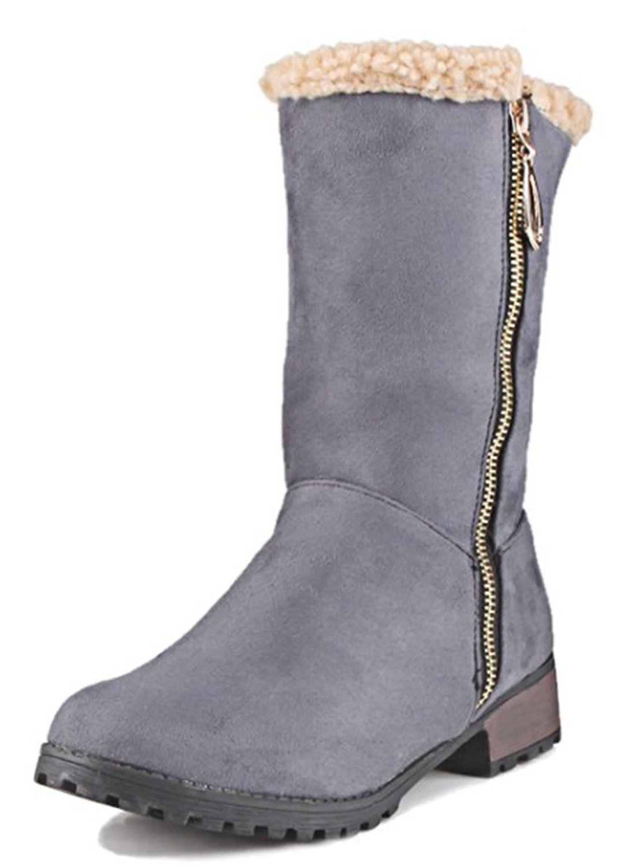 Women's Warm Fleece Faux Suede Lace Up Mid Calf Boots Motor Booties Low Heels