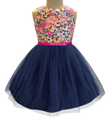 1ab73c8760e35 Loving this Navy Kashmir Garden Tulle Dress - Infant, Toddler & Girls on  #zulily! #zulilyfinds
