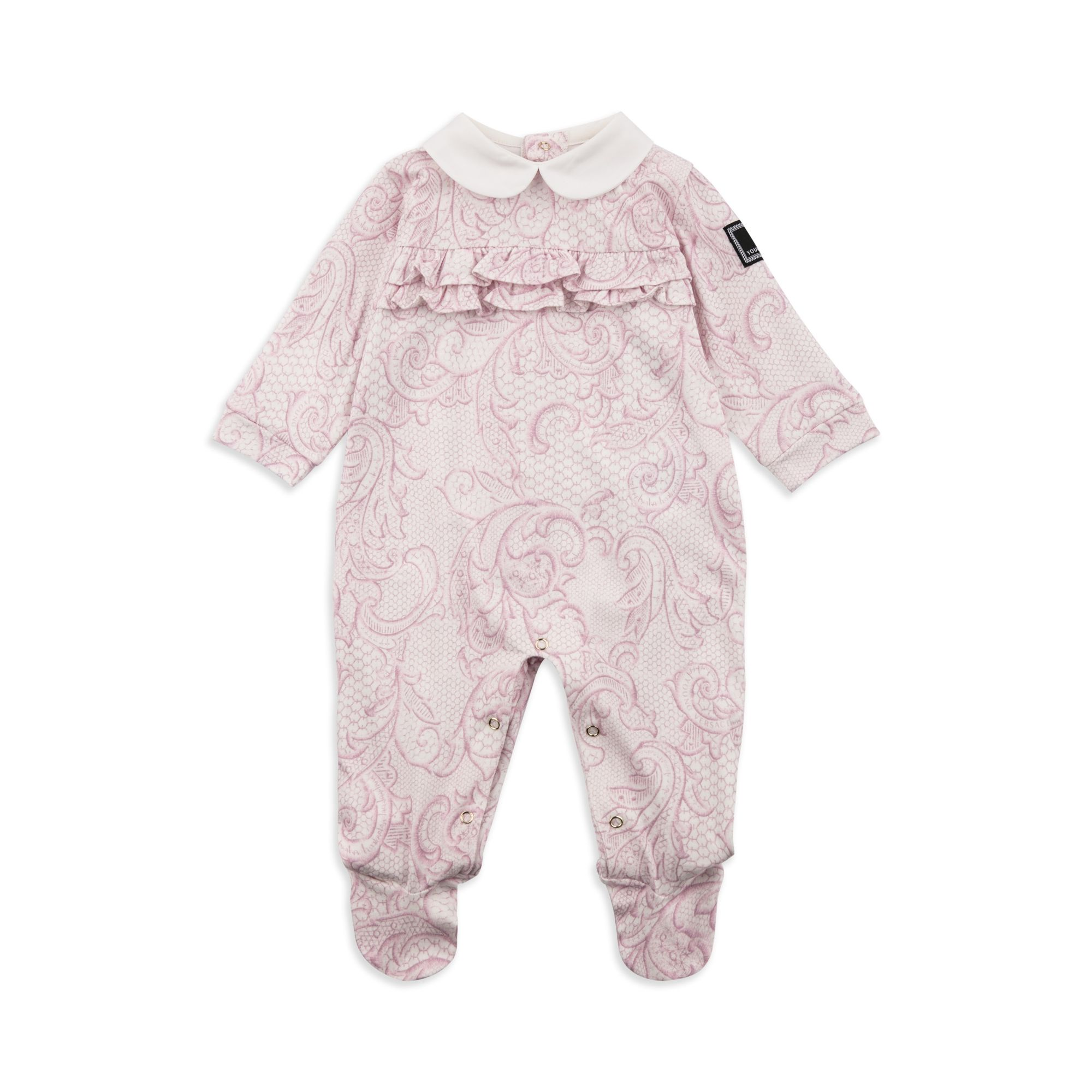 6226c7774 YOUNG VERSACE Baby Girls Baroque Coverall - Pink Baby girls shortall • Soft  stretchy cotton • Popper fastenings • Peter Pan collar • Colourful Baroque  print ...