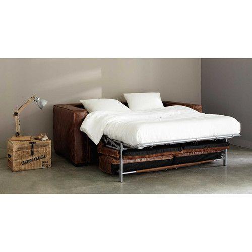 Canapélit Places En Cuir Marron Canapé Convertible Convertible - Canapé 3 places pour renover chambre a coucher maison