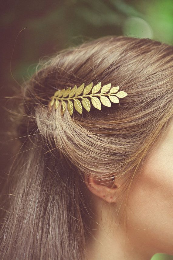 Gift for Her Vintage Golden Leaf /& Flower Hair Clip Gold tone Barrette Rose and Leaf Nature Inspired Bridal Hair Accessory