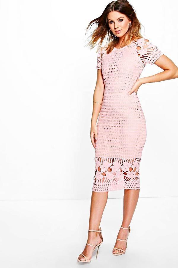 33639d23fbf boohoo Amy All Over Crochet Border Detail Midi Dress  affiliate ...