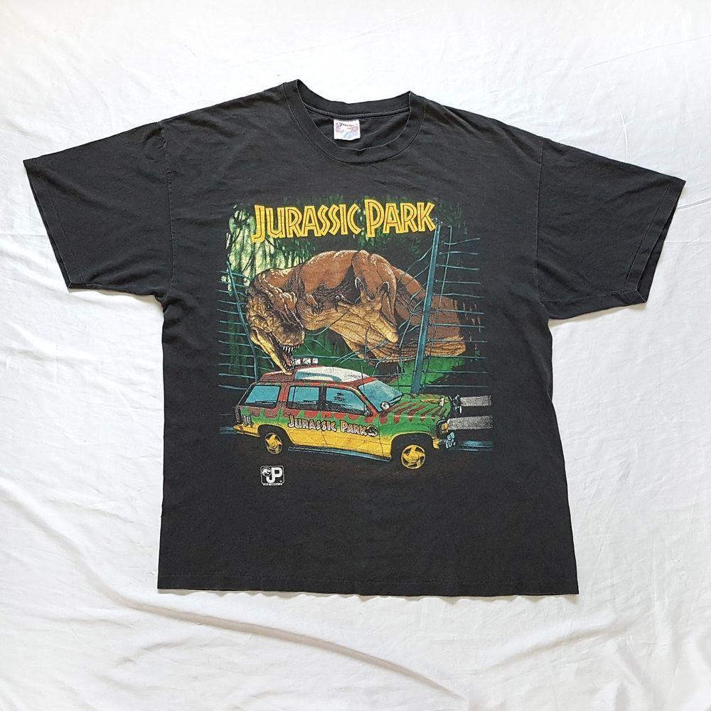 60217addfa5 Vtg 1993 JURASSIC PARK Tyrannosaurus Rex Dinosaur Tour Vehicle Movie T Shirt  XL http