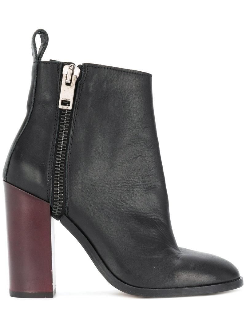 dc946e244a3cf Women's Black Zip Heeled Ankle Boots in 2019 | heel boots | Diesel ...