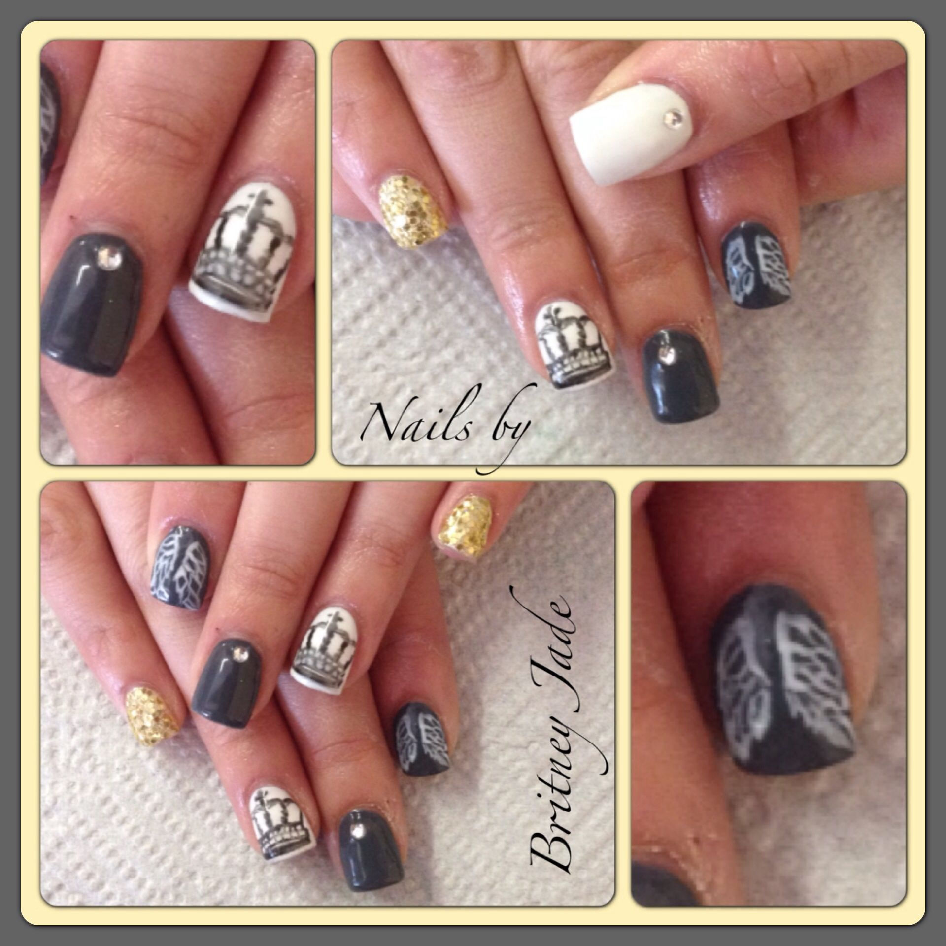 Crown and angel wing nails | Nails | Pinterest | Angel wings, Crown ...