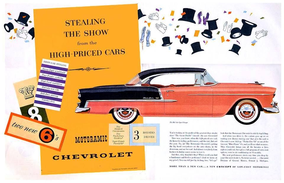 55 Chevrolet Bel Air in Coral and Shadow -Gray sales ad. | CUSTOM ...