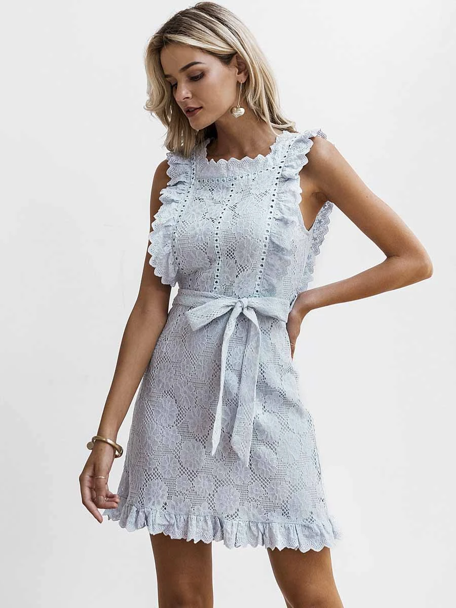 Simplee Elegant embroidery lace women dress Hollow out sashes ruffle