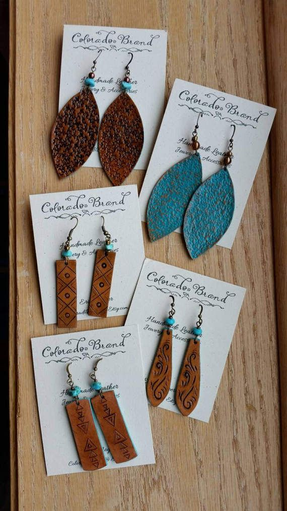 Photo of Items similar to Wholesale earrings, handmade leather earrings, turquoise collection on Etsy