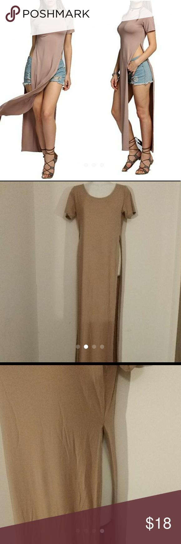 0fe63bdb2 Maxi dress Women s Casual Short Sleeve  Sleeveless T Shirts Tops Open Side  Split