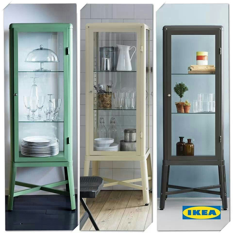 Ikea cabinet--cheaper than a vintage medical cabinet to showcase our old medical supplies collection.