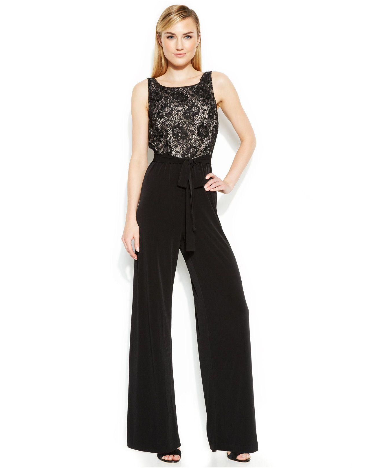 Calvin Klein Wide Leg Lace Bodice Jumpsuit Jumpsuits Rompers