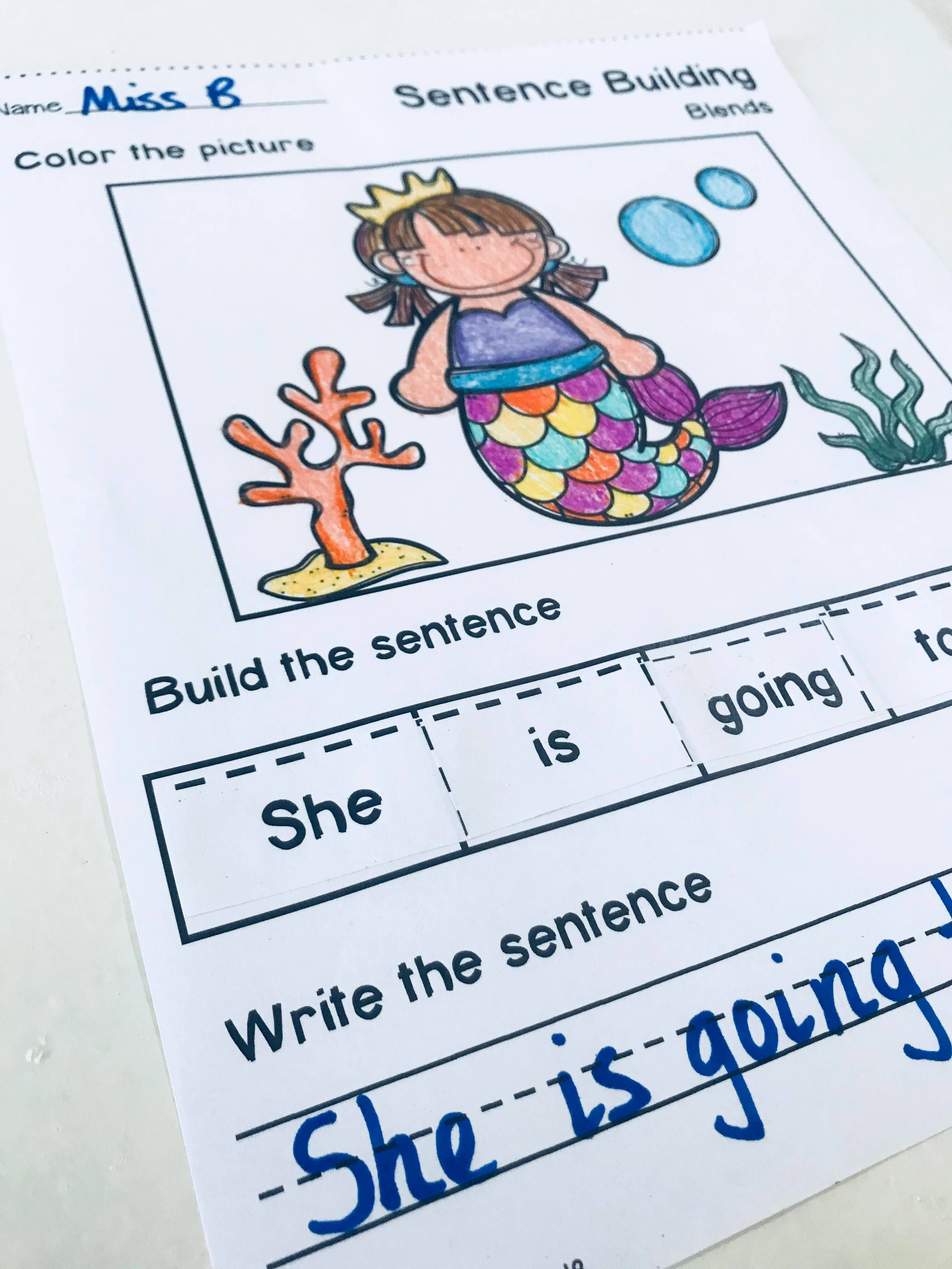 Sentence Building Worksheets Set 1