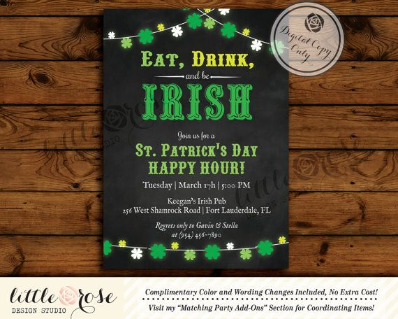 St Patrick\u0027s Day Party Invitation - St Patty\u0027s Day Invite - 's day party invitation