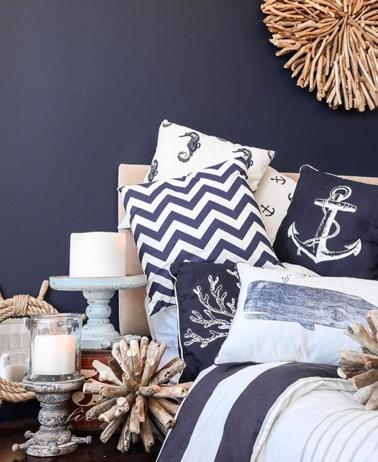Hamptons Navy Blue And White Coastal Seahorse, Coral And