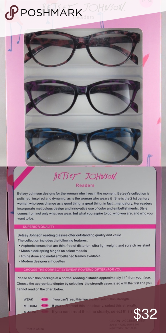 2789862253f Betsey Johnson Readers Reading Glasses +1.50 NEW 3 Pairs. Brand new in box.