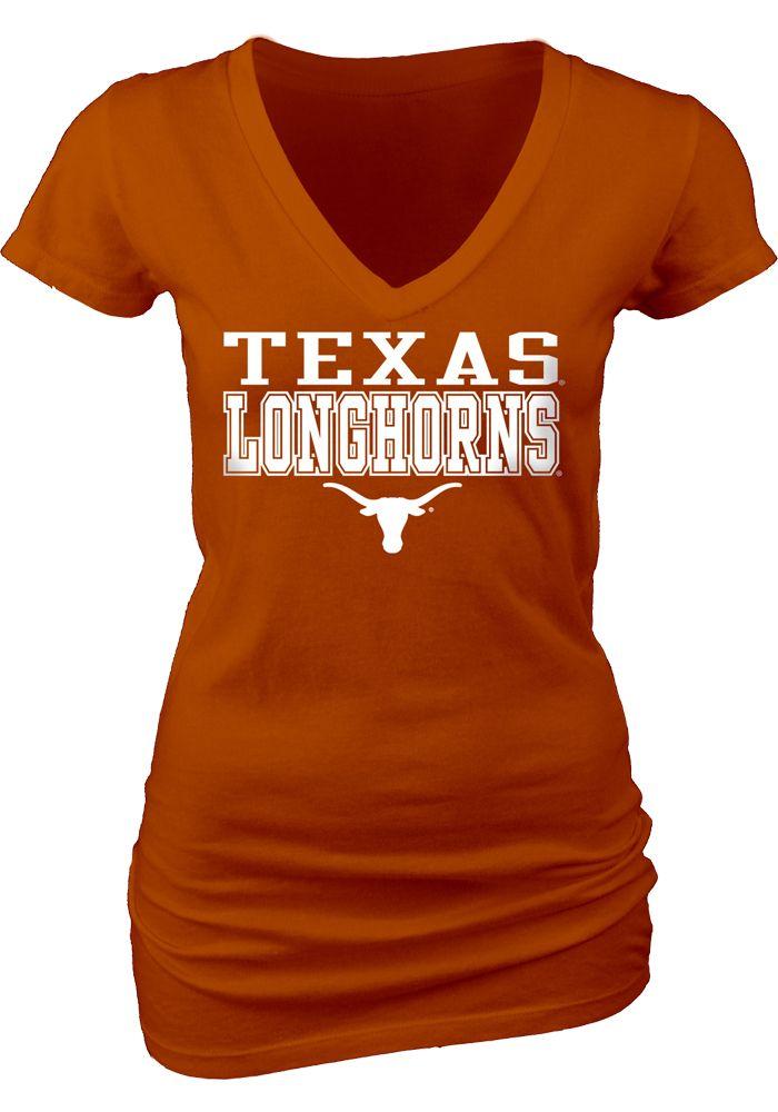 Texas Longhorns Womens Orange My Team V-Neck T-Shirt  3fefcac3aa
