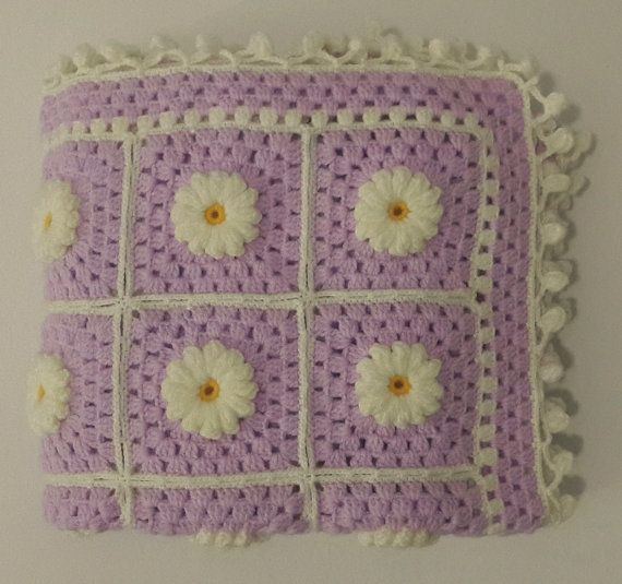 Hand Knitted Daisy Flower Pattern Baby Blanket, Granny Square Afghan ...