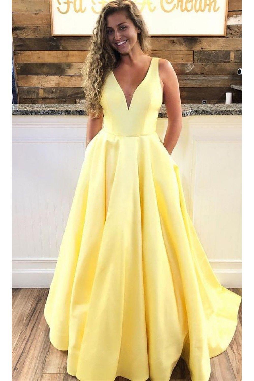 A Line V Neck Long Prom Dresses Formal Evening Dresses 601363 Prom Dresses Yellow Prom Dresses With Pockets Formal Evening Dresses Long [ 1500 x 1000 Pixel ]