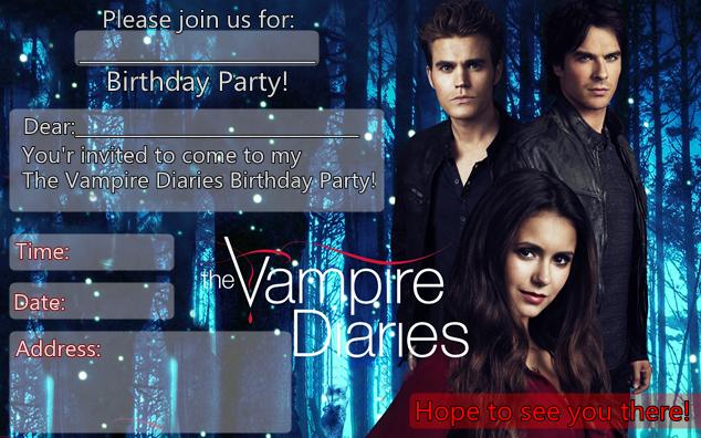 The Vampire Diaries Birthday Party Invitation English Version Birthday Party Invitations Vampire Theme Party Sweet 16 Party Invitations