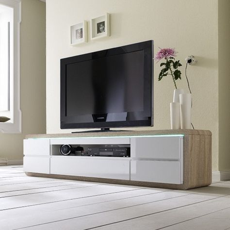 Frame Tv Stand In Oak And White Gloss Led Componant