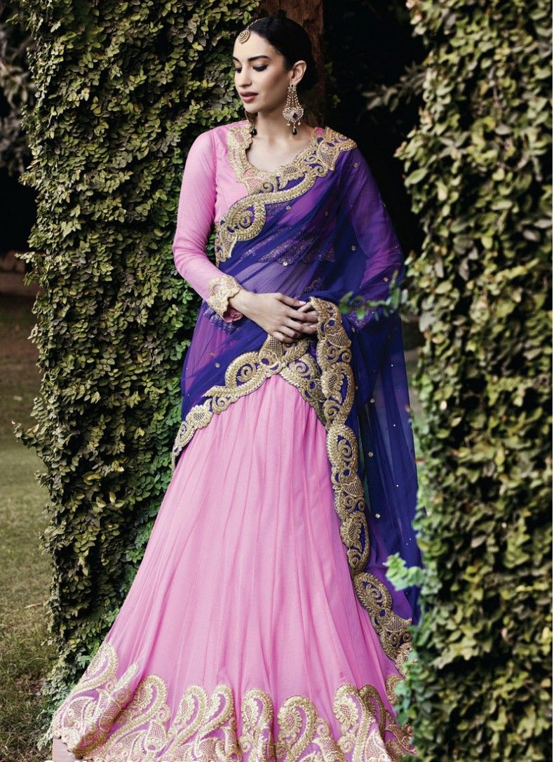 Gratifying zari shimmer georgette blue and pink party wear lehenga