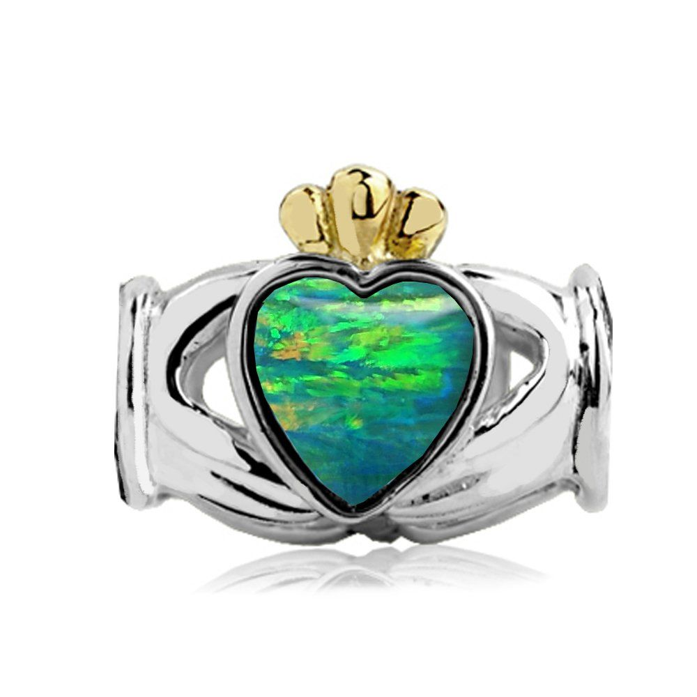 Sterling Silver-yellow Gold Claddagh Bead Charm with Lab Green Opal