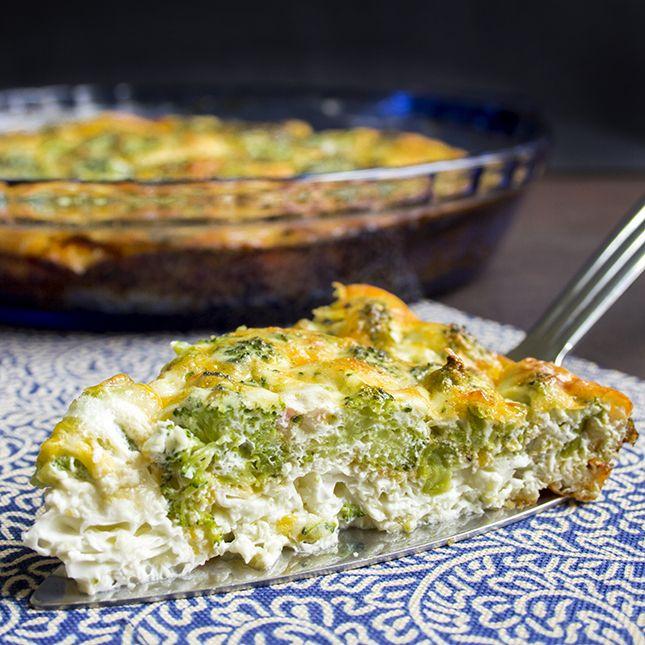 Skinny Crustless Quiche Recipe - Cotttage Cheese, Eggs, Broccoli, Ham, Cheddar Cheese