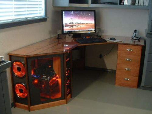 Another Awesome Desk With The Computer Built In Mesa Para Pc