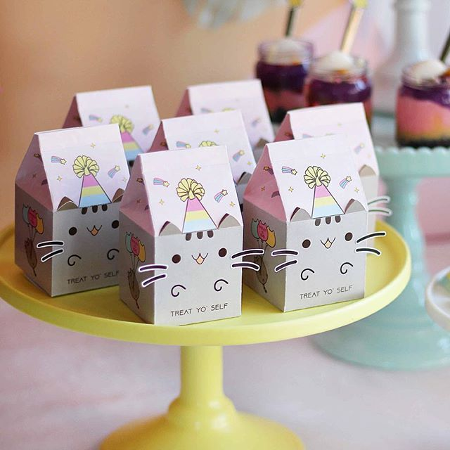 Treat Yo Self Yes We Do Love Our Milk Carton Gift Boxes And We All Know Pusheen Birthday Cat Birthday Party Cat Themed Birthday Party