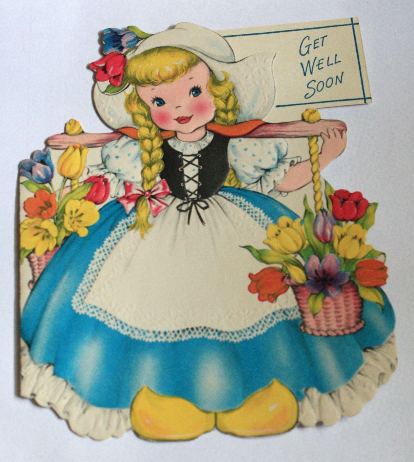 Greeting Card International Holland Dutch Girl Card 1948