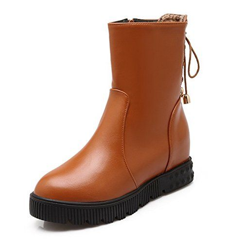 Women's Hook-and-loop Kitten-Heels PU Solid Low-top Boots