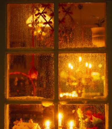 Christmas Lights Viewed Through A Window Sweden Christmas Window Lights Christmas Display Sweden Christmas