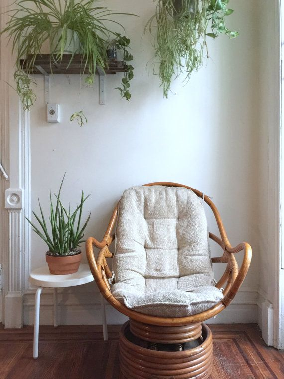 Vintage Bamboo Swivel Rocking Chair and Ottoman / Rattan Reading Chair and  Footrest - Vintage Bamboo Swivel Rocking Chair And Ottoman / Rattan Reading