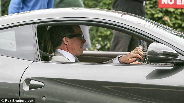 Arriving In Style: Hugh Was Seen Driving Into The Area In A Gun Metal Car