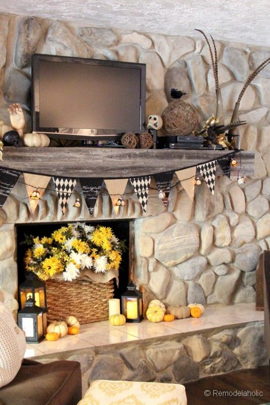 Fall and Halloween Mantel banners for fireplace Pinterest