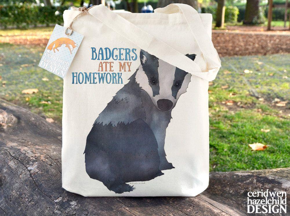 #Badgers Ate My Homework Fair Trade Tote Bag Cotton Tote School Bag Book Bag Reusable Shopper Bag Eco Tote Bag Ceridwen Hazelchild Design