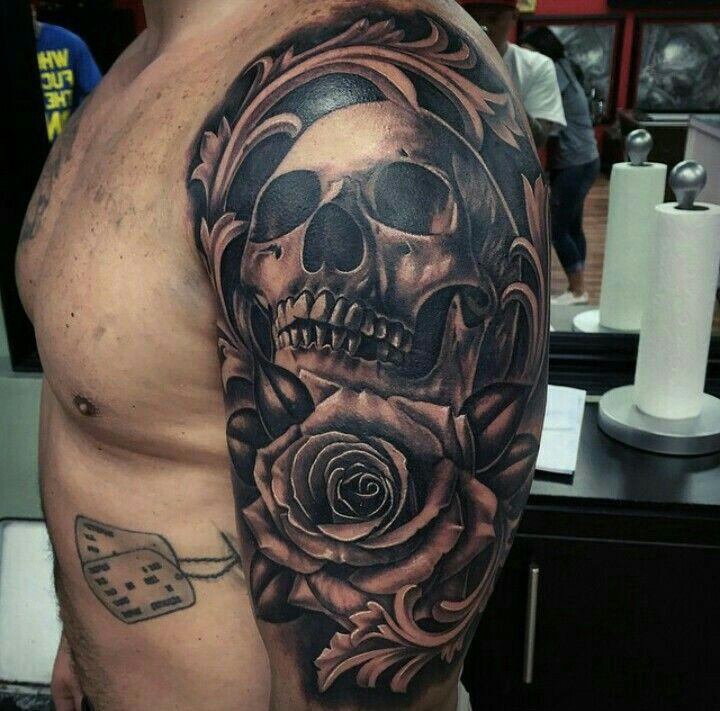 Skull Rose Sleeve Skull Rose Tattoos Skull Tattoos Skull Sleeve