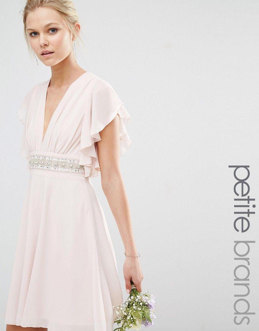 Petite dresses with sleeves for weddings  TFNC Petite Wedding Fluted Sleeve Embellished Waist Mini Dress