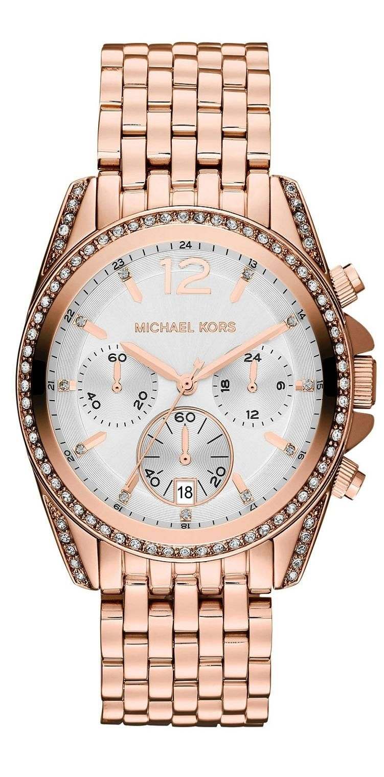 Michael Kors Mid-Size Rose Golden Pressley Chronograph Glitz Watch ♥✤ | KeepSmiling | BeStayBeautiful