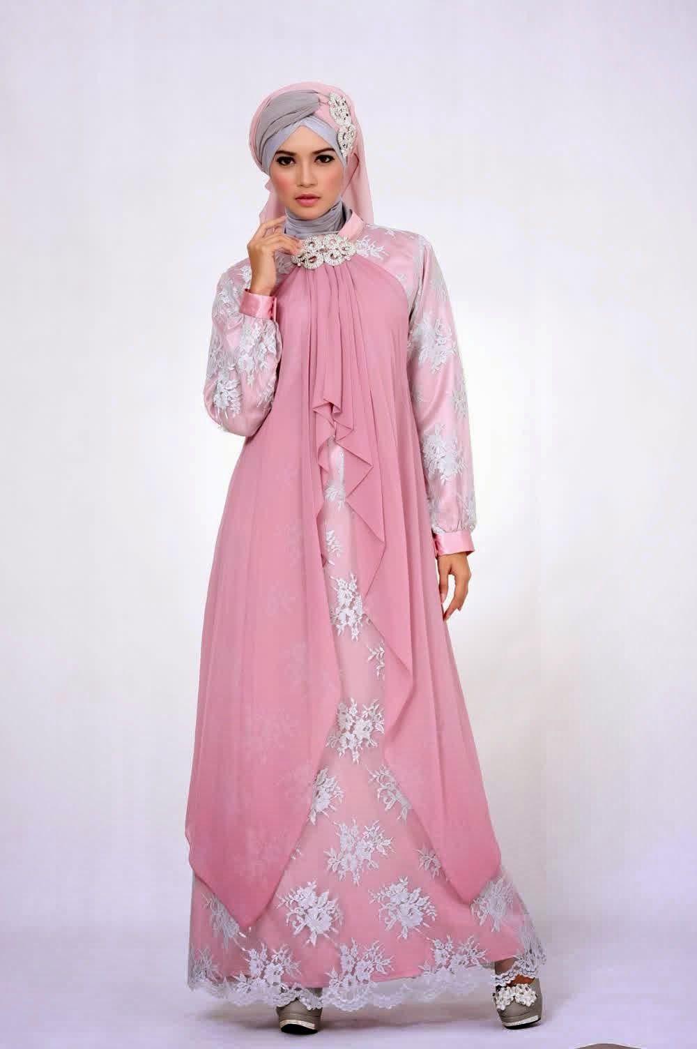 Gambar Model Baju Muslim Brokat Gamis Contoh Busana