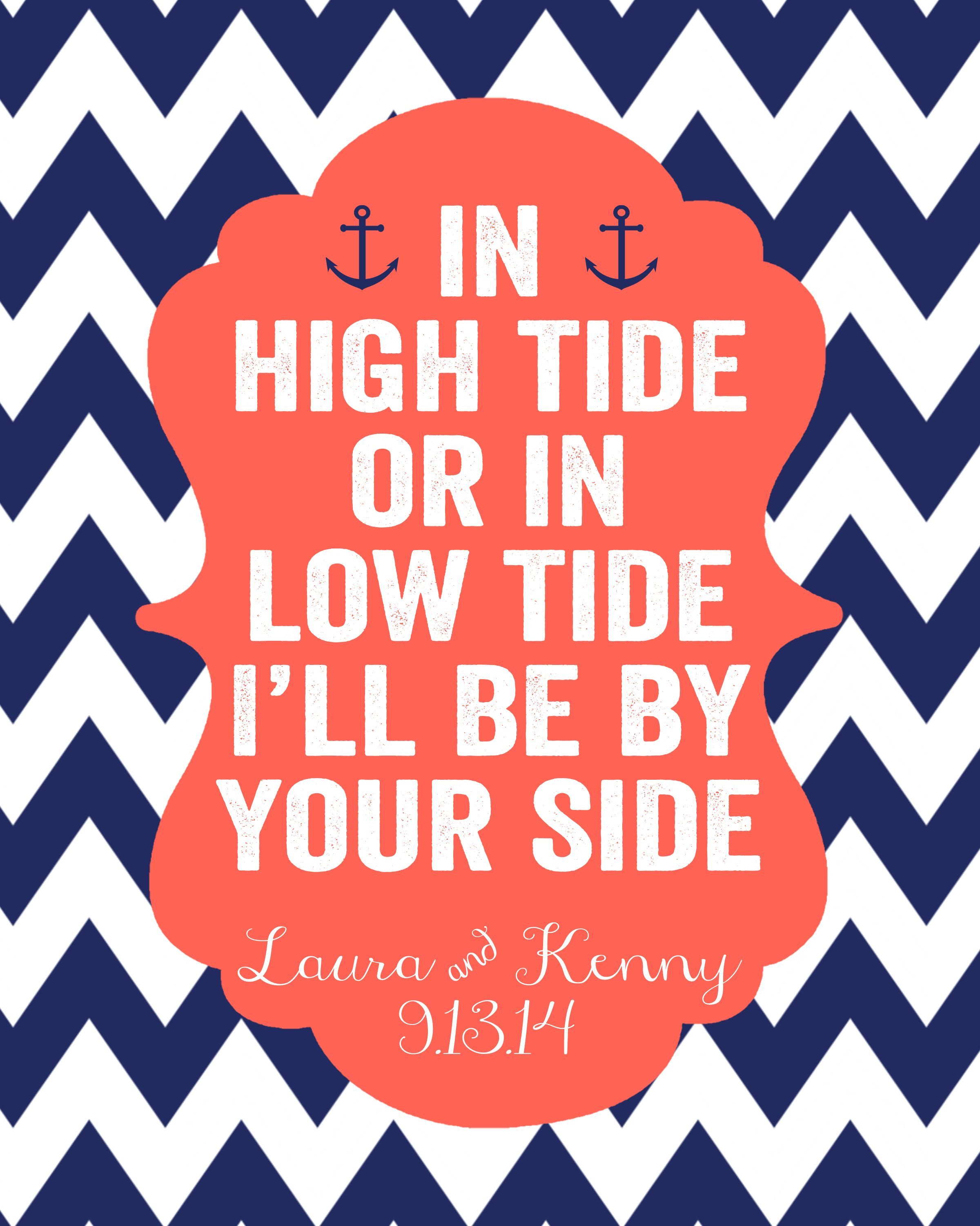Nautical Bridal Shower Decoration Sign – In High Tide or In Low Tide ...